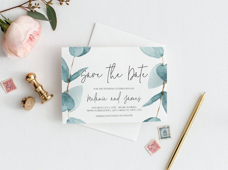 Eucalyptus Save the Date Template invitation Save The Date image 0