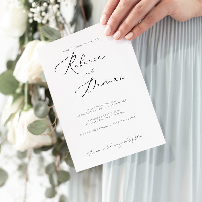 Elegant Wedding Invitation Template Classy Printable Edit Text And Colors Yourself Calligraphy Font 110