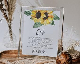 Sunflower Gents & Ladies Bathroom Sign, rustic floral wedding bathroom basket sign printable editable yellow sunflower rescue kit sign SUNNY
