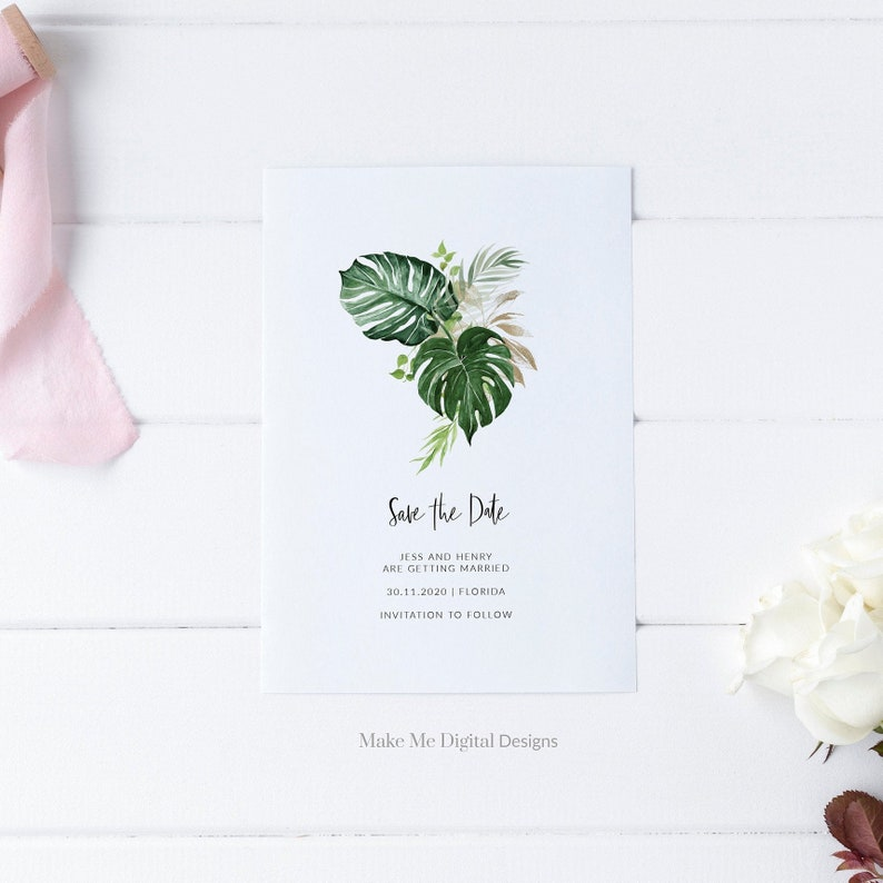 Tropical Save the Date Template invitation Save The Date image 0