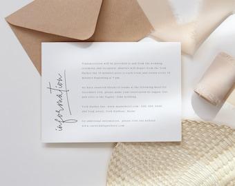 Editable wedding information card, wedding details card, minimal wedding info card, modern wedding insert card, instant download 111