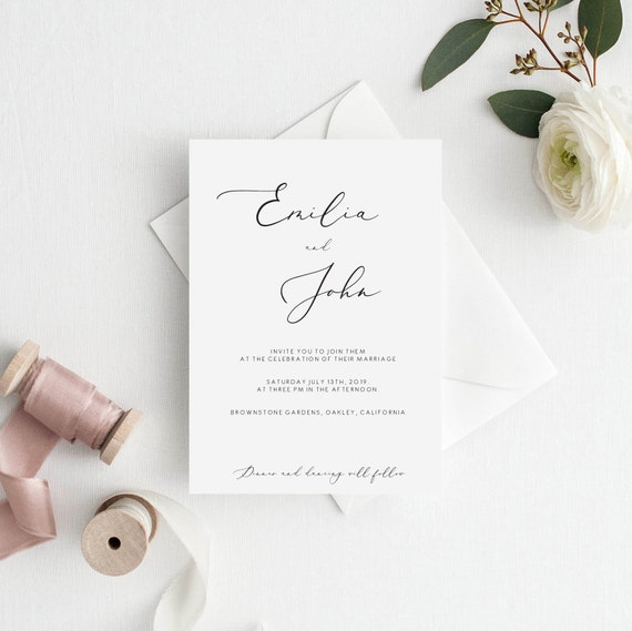 Elegant Wedding Invitation Template Editable Classy Printable Edit Text And Colors Yourself Calligraphy Font 110