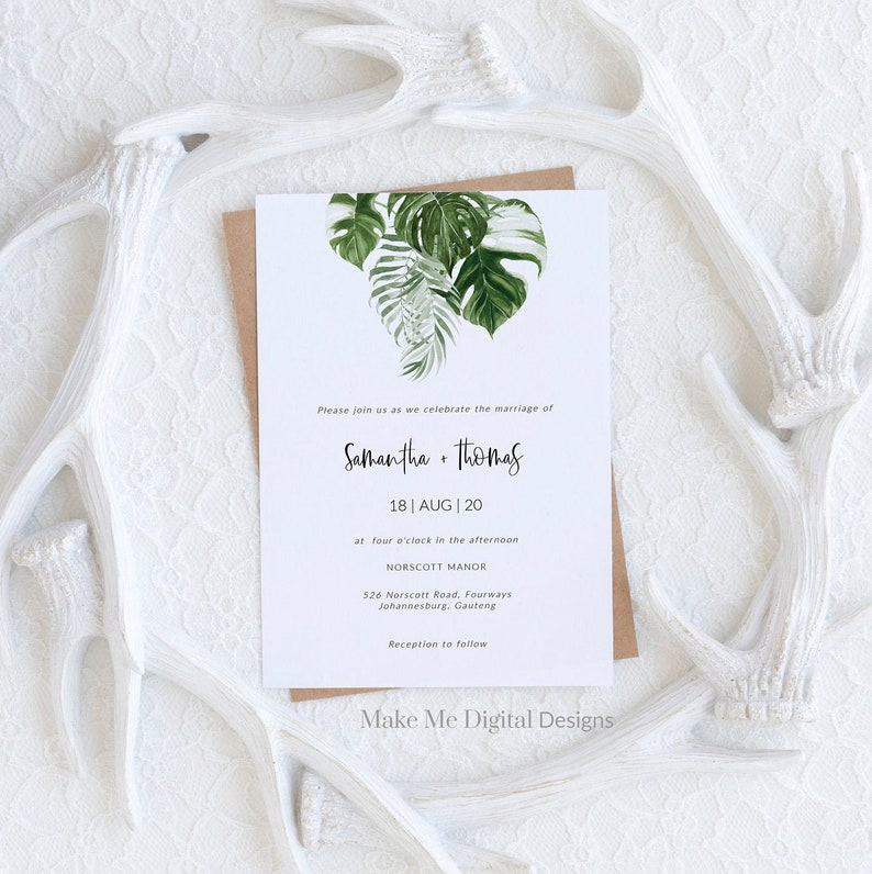 Tropical Wedding Invitation Template Editable palm leaf image 0