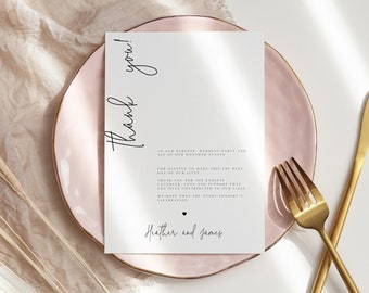 AMARA | Editable Thank you card Template, Wedding table thank you card, Wedding table decor, minimal Editable thank you card modern 111