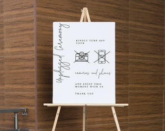 Modern Unplugged Ceremony Wedding Sign , ceremony template Sign, Printable no cameras and phones sign,  Editable unplugged Sign 111