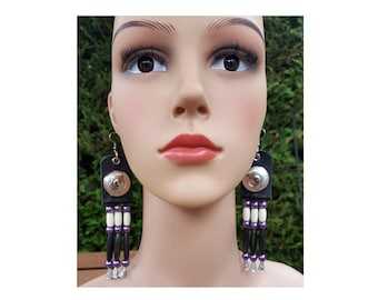 Boho Southwestern Native American Turquoise Red with White Design Bone Tube Hair Pipe Ear wire Earrings Ethnic