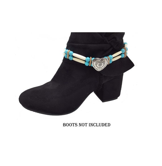 Western boot straps women heart boot bracelet beaded boot bracelet
