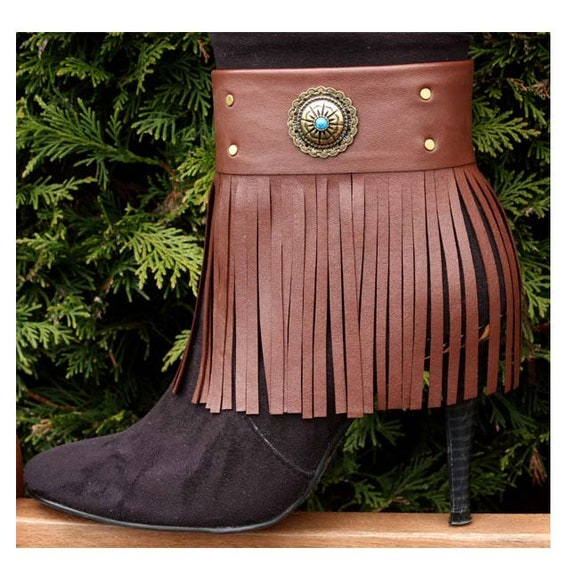 b199fc6619e Brown leather boot bracelets, Fringed boot straps, ankle tassels