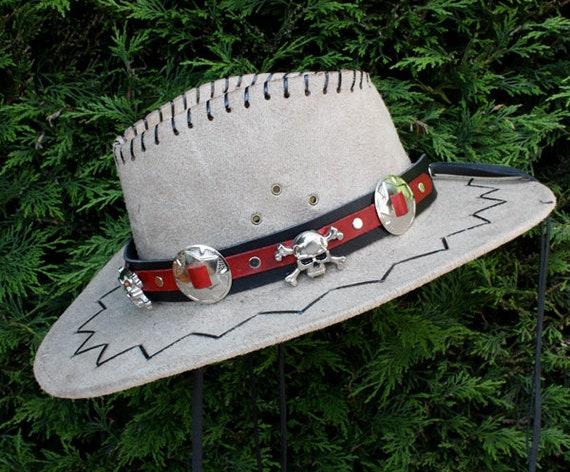 Cintillo Cranio Banda Cappello Nero E Redleather Banda Etsy