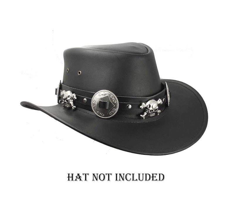 Skull hatband black leather hat band handmade hat band  db6e195c2cd7