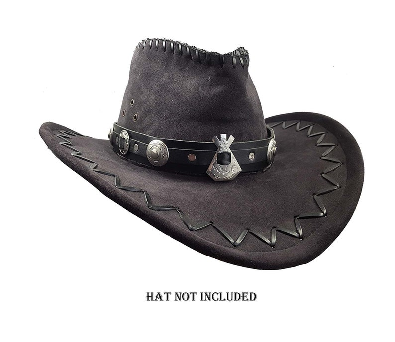53b5320530315 Black leather cowboy hat band Western style concho hat band