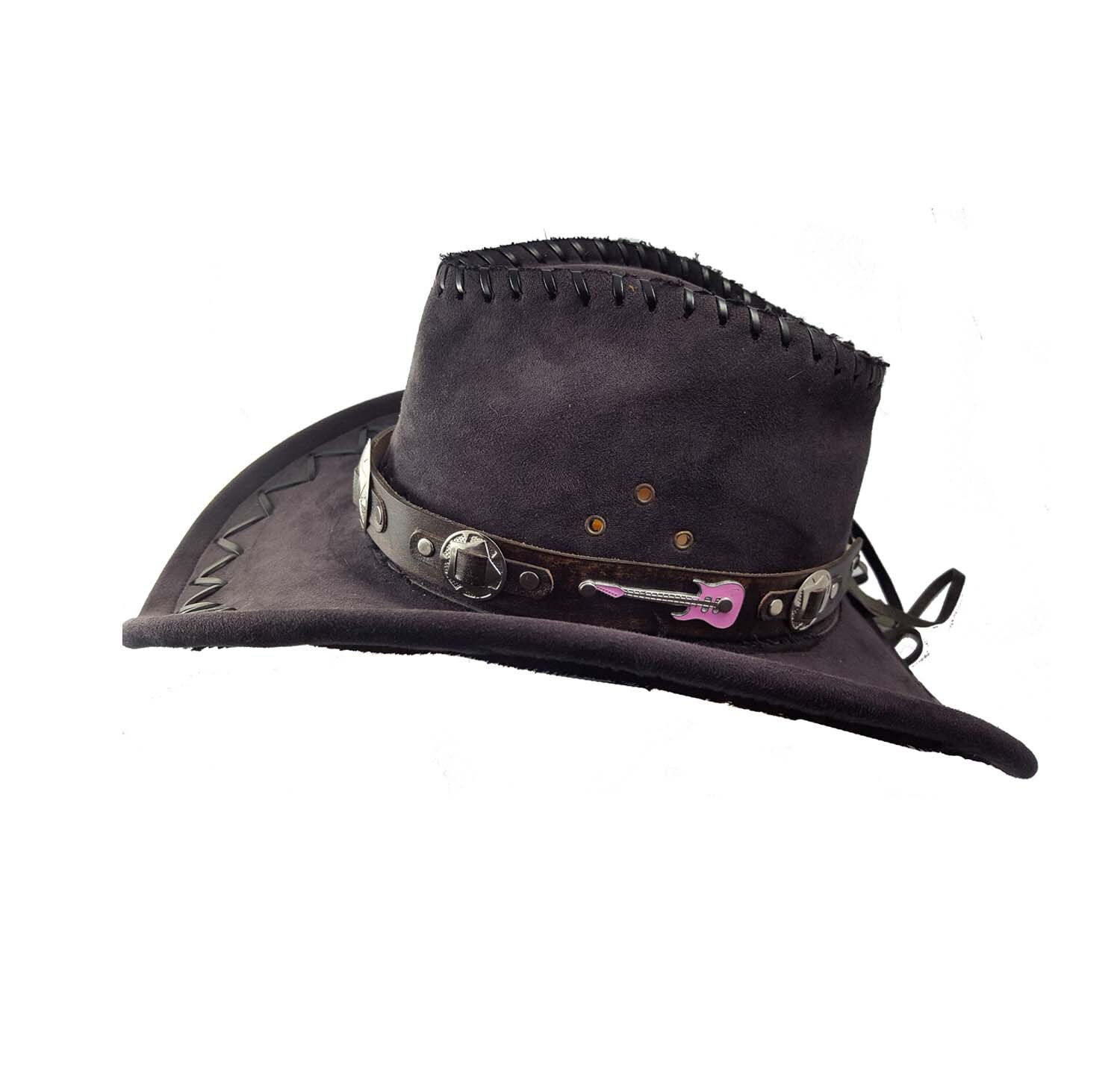5c65282767d Brown leather cowboy hat band Western hat band guitar hat