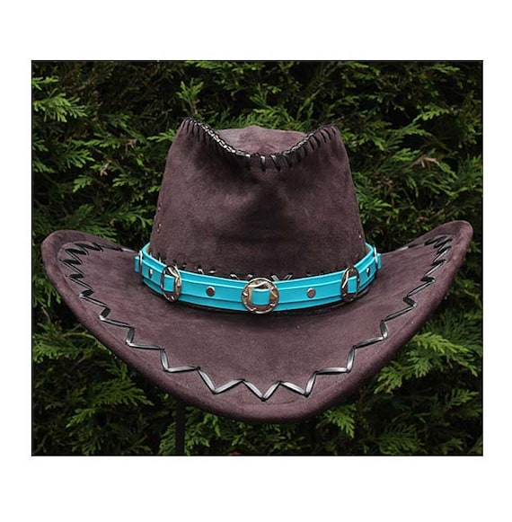 Turquoise leather cowboy hat band Western concho hat band  5a561d23633
