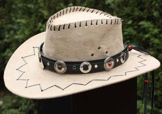 Western hat band black leather hat band handmade hat band  3031439743d