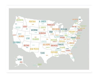 United States Map Digital Download Map Travel Map Usa Map Etsy