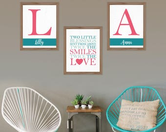 Twins Nursery Decor Twins wall art Boy girl Twins Twins