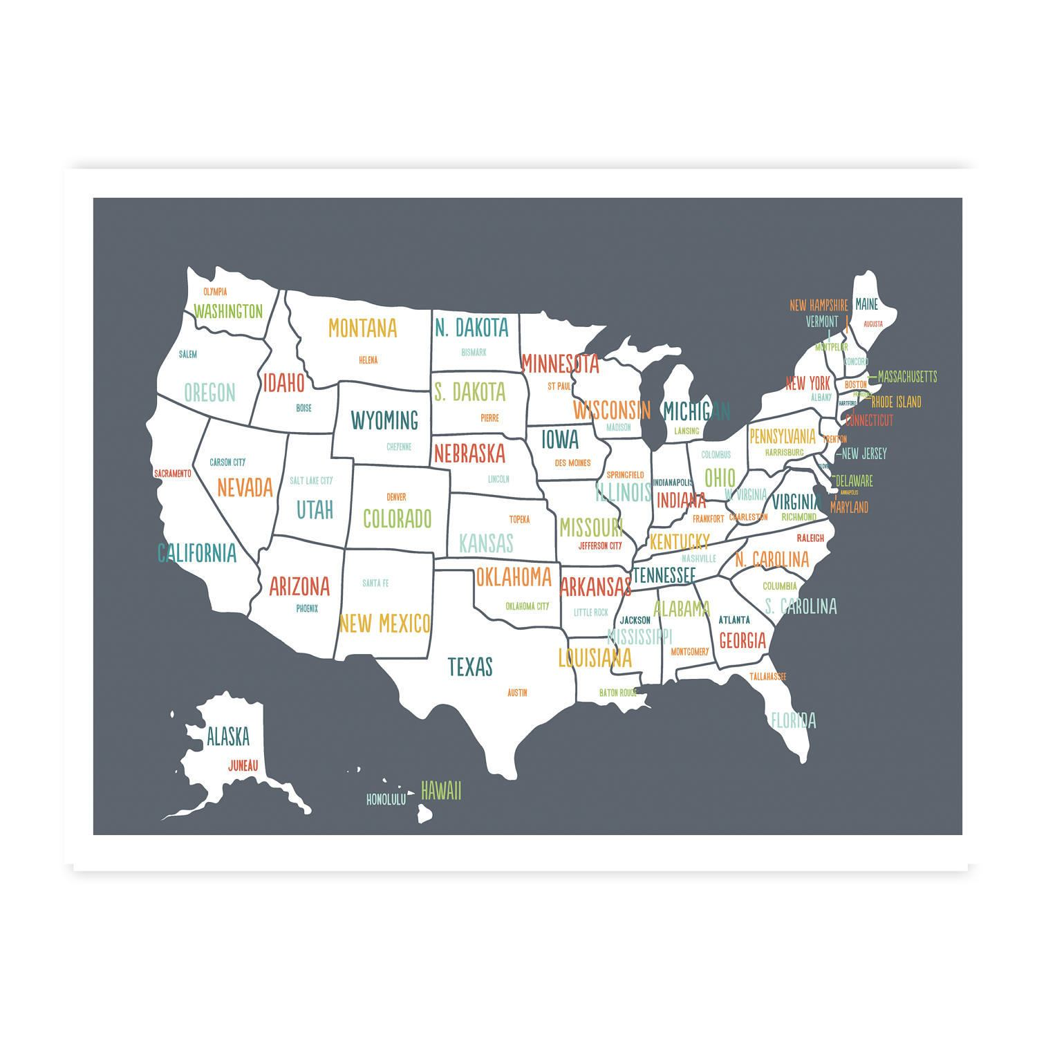 United States Map, Digital Download Map, Travel Map, Usa map kids, Map of  united states poster for kids, Usa map for kids, Us map for kids