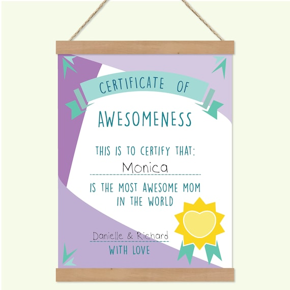 Certificate of Awesomeness Best Mom Certificate Personalized
