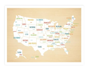 United States Map Digital Download Map Travel Map Usa map
