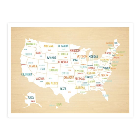 United States Map Digital Download Map Travel Map Usa map | Etsy