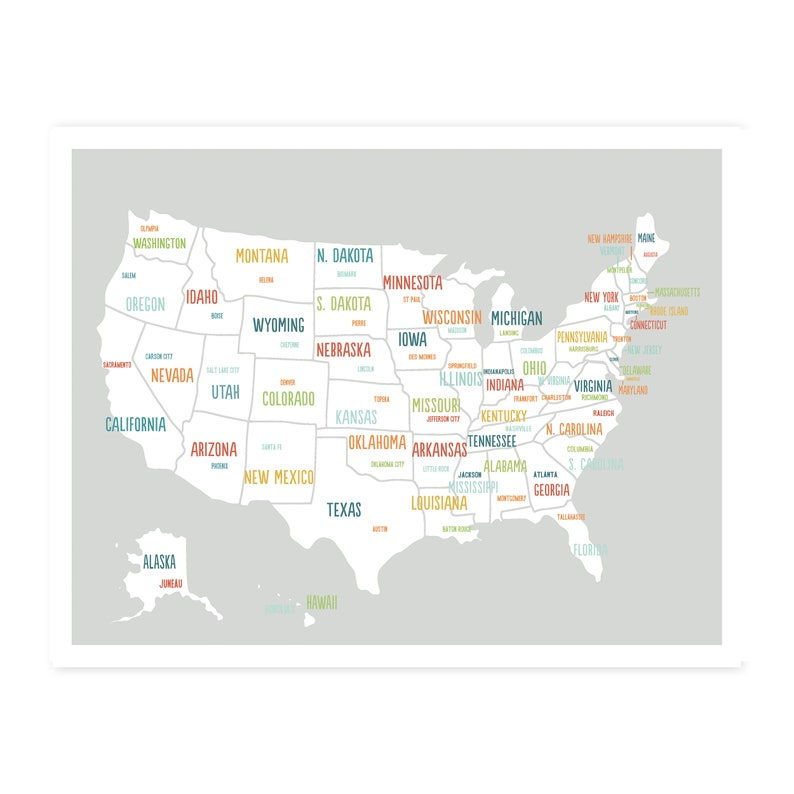 Printable Oversize United States Map, Digital Download Map 40x30, Usa map  kids, Map of united states poster for kids, Usa map, digital map