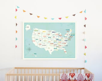 USA Wall Map Wall Art Print, 36x24,Nursery Wall Art Decor, Gender Neutral Kids Room Decor, United States of America Map