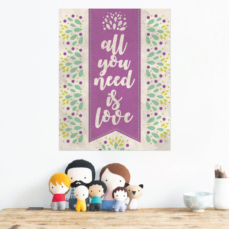 All You Need Is Love Print Love Wall Print John Lennon Etsy