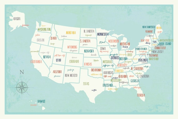 Us Map Us Travel Map Sales Map Usa Art Print Map Art Etsy - Us-travel-map