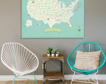 USA Wall Map, My Travels Personalized USA Wall Map Art Print, 36x24, United States, Customizable Map, Nursery Wall Art, Kid's Room
