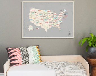 """UNITED STATES Wall Map USA Poster 24""""x18"""" or 36""""x24"""" - Large Print Paper - 2016"""