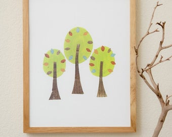 Forest Collection Trees Recycled Collage 8X10 Print