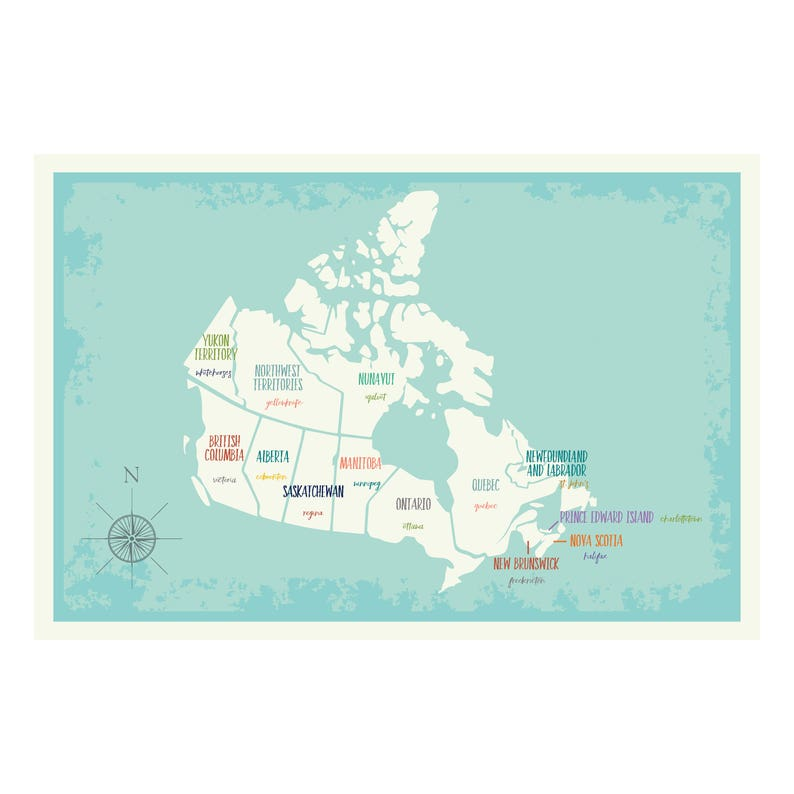 Canada map wall art, Map of Canada, Canada Map print, Canada Capitals Map,  Canada Poster Map, Map for kids, Canada Nursery, Canada wall art