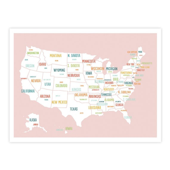 Printable Map Of Usa For Kids.Printable United States Map Digital Download Map Travel Map Etsy