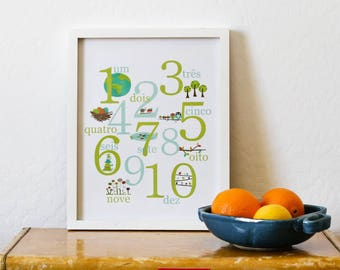 20% OFF Portuguese Number Print, Nature Themed Counting 11x14, Childrens Wall Art, Nursery Wall Art, Kids, Gender Neutral