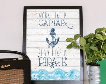 Nautical Nursery Art Prints, Nautical Wall Decor, Little boy nursery, Anchor Print, Captain Play Like a Pirate, Print quotes, Anchor quote