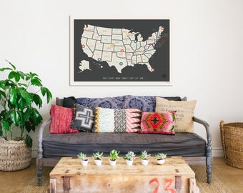USA Wall Map, Personalized Travel Map Print, 36x24, Gender Neutral Nursery Wall Decor, Kid's Room, Adventure, United States
