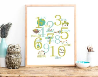 Spanish Number Print, Nature Themed, 11x14, Counting, Nursery Wall Art, Children's Decor, Gender Neutral Nursery, Woodland