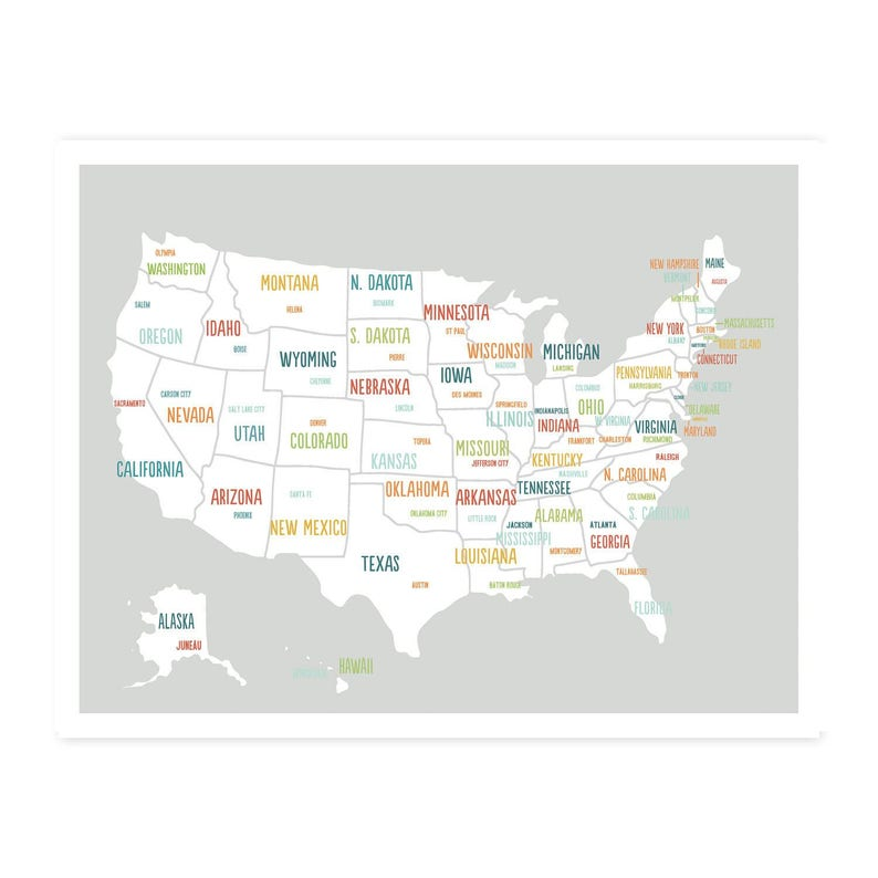 Kids Usa Map.Printable United States Map 50 Off Digital Download Map Etsy