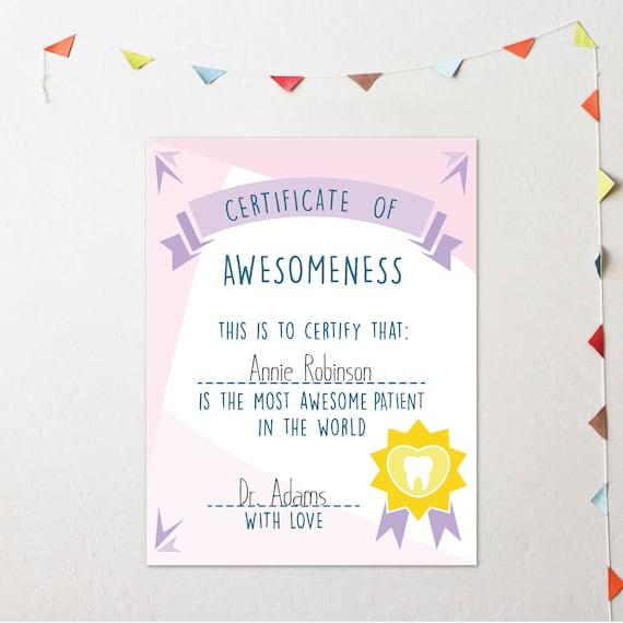 Certificate of Awesomeness Best Patient Certificate Award