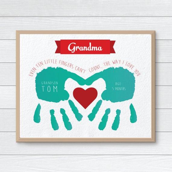 Personliches Geschenk Fur Oma Benutzerdefinierte Handabdruck Etsy