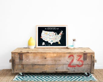 USA Adventure Map Wall Art Print, Personalized Travel Map, 18x12, Black, Kid's USA Map, Gender Neutral, Customized, United States