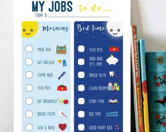kids routines chart boy printable evening jobs night
