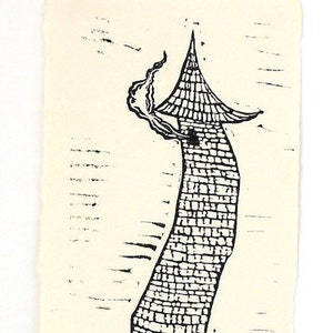 art printmaking hammock linocut print Loungin