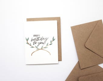 BIRTHDAY CARD, hand lettered card, greeting card.