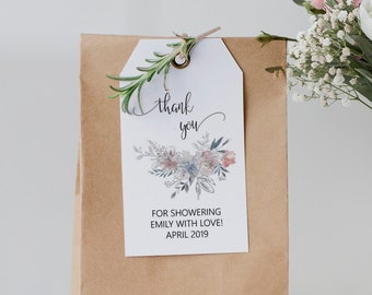 Thank You Favor Tags, Printable Wedding Favor Tags, Editable Favor Tags, Favor Tag Template, MSD336