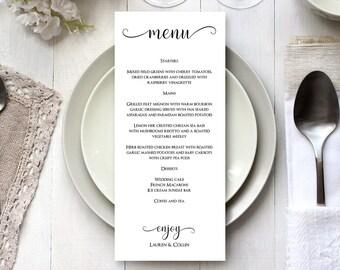 Wedding Menu Card Editable Template, DIY Menu Card Printable Template, DIY Menu Card,  Printable Menu Card, Menu Template, MSD-124