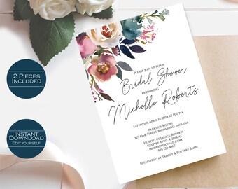 Bridal Shower Invitation Template / Printable Bridal Shower Invitation / Editable Template Printable Invitation / Michelle Collection