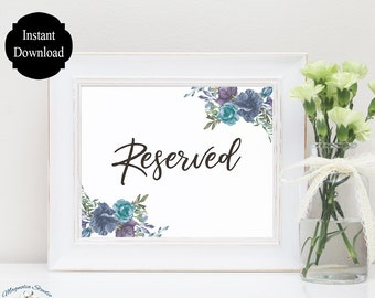 Reserved Sign for Wedding / Reserved Wedding Sign / Reserved Table Sign / Reserved Printable / Floral Wedding Printable / Sarah Collection