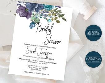 Bridal Shower Invitation Template / Printable Floral Bridal Shower Invitation /Editable Template / Printable Invitation / Sarah Collection