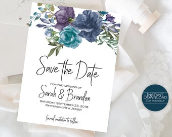 Floral Save the Date Template / DIY Save the Date / Save the Date card / Wedding Announcement / Printable Invitation / Sarah Collection